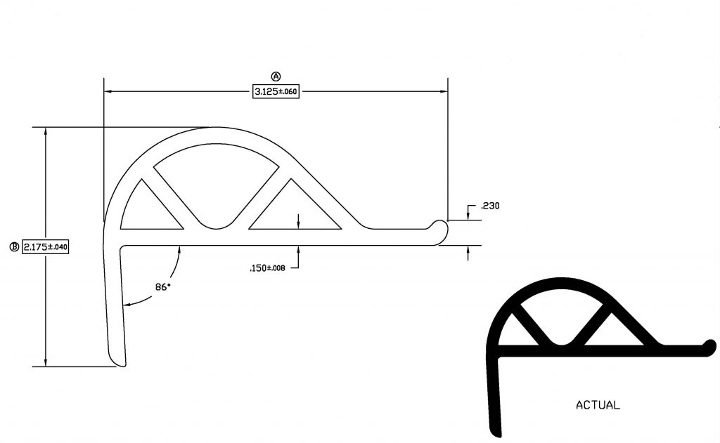 P Shape Dock Bumper Dimensions